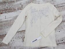 DKNY Girls Size SMALL 6-7 NEW Cream White Long Sleeve Shirt
