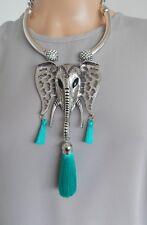 Elefante De Plata Y Turquesa Borla Festival Boho Collar De Declaración-Reino Unido Vendedor