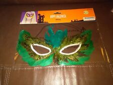 Halloween Light Green Feather  Mask