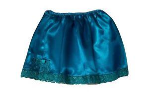 Peacock Blue Mini Satin Underskirt UK SIZE 6-18 Glossy Sissy Waist Half slip