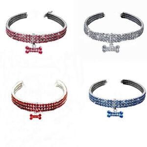 Artificial Crystal Necklace Dog Cat Shining Collar Rhinestone Pendant Neck Strap