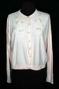 VINTAGE 1960'S WOMAN'S CREAM NYLON DECORATED SWEATER SIZE MEDIUM