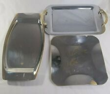 Bulk of 3 Steel Serving Eating Trays Gold Silver Floral Print Corona Gold Plate