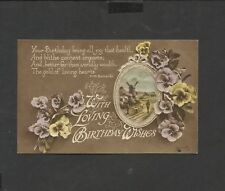 Vintage Greeting Postcard With Loving  Birthday wishes posted 1919