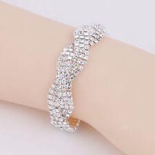 Sparkly Silver Crystal Rhinestone Twining Bangle Bracelet Wedding Bridal Jewelry