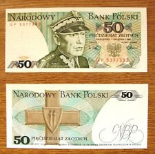 POLAND ONE VERY COLLECTABLE WITHDRAWN UNC  50  ZLOTYCH BANK NOTE DATED 1988