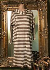 Ladies Vintage Merry Devil Knitted Cream Brown Striped Jumper Dress Size 14-16