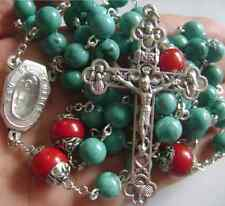 Natural Turquoise & Coral beads Lourdes Water Rosary Cross crucifix Necklace