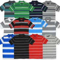 Mens Striped Polo Shirts Pique Collared T Shirt Summer Tee Short Sleeve S M L XL