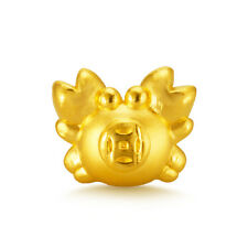 999 NEW Pure 24K Yellow Gold Fine Coin Crab Lucky DIY Pendant For Ring /Bracelet