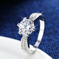 18K White Gold GF Made With Swarovski Lab Diamond 2.0 ct Eternal Wedding Ring
