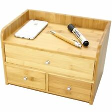 Bamboo Large Desk Tidy Stationery Organiser with 3 Drawers