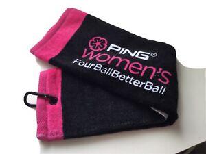 Ladies Golf Towel Ping Black & Pink