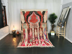 Moroccan Boujaad Handmade Vintage Rug 5'5x8'9 Berber Abstract Red Pink Carpet
