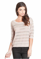 NWT GUESS Vesper High Low Sweater Sheer Pullover Knit Top Metallic Beige XS