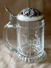 """New listing Glass West Germany Beer Stein Monogrammed """"Jack"""" Bmf Rare Clydesdale Pewter Lid"""