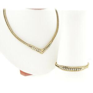 Fancy Italian 14k Gold Diamond V Link Chevron Necklace & Matching Bracelet Set