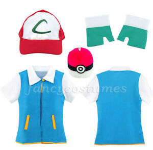 Kids Pokemon Ash Ketchum Fancy Dress Costume Children Pokemon Costume Set