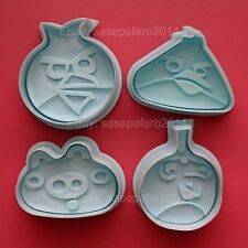 Angry Bird plunger cookie cutter 4 pcs. set for fondant chocolate.
