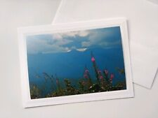Big Sky Montana with Pink Flowers, Blank Photo Note Card