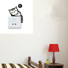 Cute Cat Black Removable DIY Art Vinyl Switch Sticker Home Wall Window Decor