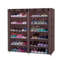 6 Layer 12 Portable Shoe Storage Organizer Wardrobe Rack Shelves Closet w/ Cover