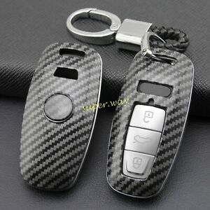 Carbon Fiber Car Smart Key Fobs Ring Chain Cases Covers Holder For Audi A6 A7 A8