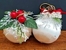 2 White Satin Balls Trimmed with Rhinestones Greenery& Other Holiday Decor