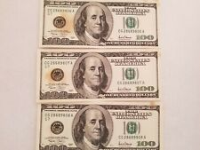 $100.00 dollar bills 2001 series consecutive sequence- Chicago Reserve Note