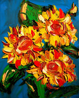 Original Painting SUNFLOWERS WALL DECOR no reserve STRETCHED   signed CANVAS COA
