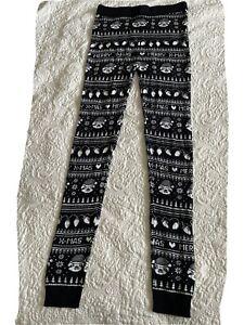 Ladies Christmas Leggings Size 16-18 Black Christmas Doggy Pattern