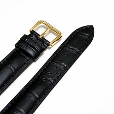 18mm Men Black Genuine Leather Watch Band Strap with Gold Buckle