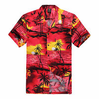 NWT Men Aloha Shirt Cruise Tropical Luau Beach Hawaiian Party Red Sunset Palm