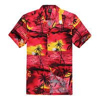 NWT Men Aloha Shirt Cruise Tropical Luau Beach Hawaiian Party Red Sunset Palm