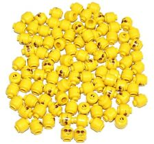 LEGO  LOT OF 100 NEW YELLOW MINIFIGURE HEADS WITH ORANGE GLASSES TOWN CITY MEN