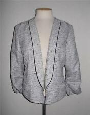 MAURICES MS SIZE X-LARGE BLACK AND WHITE OPEN FRONT RUCHED SLEEVE FASHION JACKET