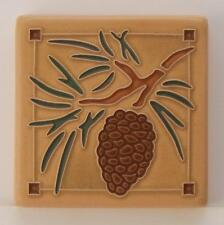 4x4 Arts & Crafts Pinecone Tile in Sand by Arts & Craftsman Tileworks