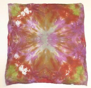 """Tie Dye Bandana 21"""" x 21"""" Purple Spider Burst 100% cotton"""
