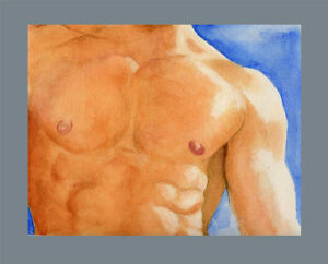 watercolor NUDE Male painting THINK CALIFORNIA 2/17/50 Realism FREE SHIP