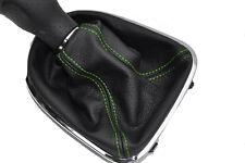 FITS SEAT LEON TOLEDO ALTEA 2006 TO 2011 BLACK LEATHER GEAR GAITER green stitch