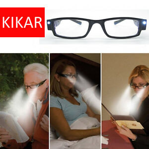 LED Reading Glasses Presbyopia Presbyopic Lighted Magnifying Magnifing Head Lamp