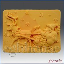 egbhouse, 2D silicone mold, Soap/plaster/polymer clay – Santa with Sleigh