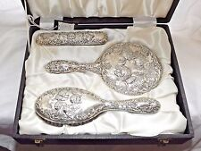 GOOD VINTAGE SOLID SILVER STERLING GROOMING SET MIRROR BRUSHES CASED B/HAM 1974