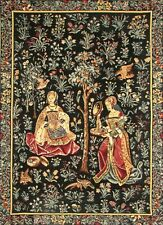 """BRODERIE MEDIEVALE 25"""" X 18"""" LINED BELGIAN TAPESTRY WALL HANGING WITH ROD SLEEVE"""