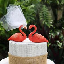 Pink Flamingo Wedding Cake Topper: Hand Painted Love Bird Cake Topper