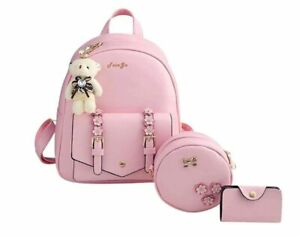 Girls 3-PCS Fashion Cute Mini Leather Backpack sling & pouch set for Women
