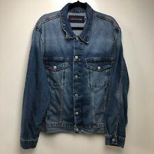 Calvin Klein Denim Jean Jacket Men's XL Blue CK Logo Blue Medium Wash