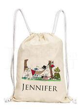 Personalised Childrens Moomin Drawstring Canvas Gym/ PE Bag (D1)