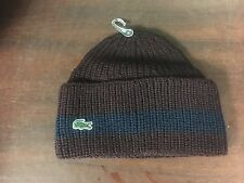 LACOSTE MEN'S RIBBED WOOL TURNED EDGE BEANIE HAT NAVY BLUE RB2749-51-59k