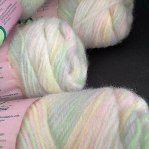 3+ Skeins Yarn Columbia Minerva 4-Ply Glimmer Fluff Variegated Pastels SUNRISE